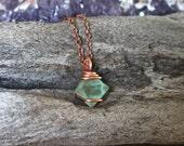Green Fluorite Necklace - Wrapped Stone Jewelry - Octahedron Fluorite Jewelry - Raw Stone Necklace - Boho Jewelry - Hippie Bohemian Necklace