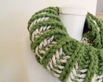 Green & Natural 2-color Chunky Mini- Infinity Scarf - Handknit, Ready to Ship