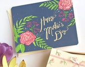 Mothers Day Card Floral - Pink Flowers - Flower Card for Mom - Floral Mothers Day Card - Mother Day Card - Happy Mother's Day