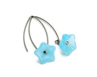 Niobium Earrings Blue Flowers Sky Blue Flowers on Arch Niobium Earwires No Nickel Hypoallergenic Earrings for Sensitive Ears