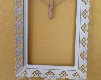 Shabby Chic White Filigree Metal Frame Clothespin Lace Vintage