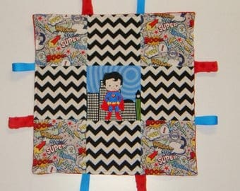 Ready to ship Embroidered Superman Lovie / Tag Blanket / Sensory Blanket /  Security Blanket. 14 X 14