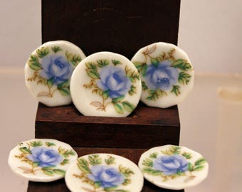 Miniature Plate Set Blue Roses 1 inch scale Dollhouse Dishes made Japan Porcelain