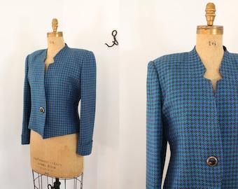 houndstooth blazer - 80s jacket - feminist jacket - vintage wool jacket - 80s houndstooth jacket - blazer - 80s clothing - medium large