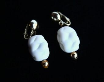 Milk Glass Earrings ~ Vintage Chunky White Earrings ~ Venetian Art Glass Beaded Jewelry ~ Vintage White Glass