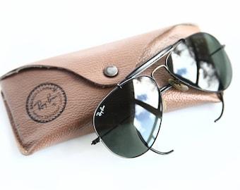 Vintage Aviator Ray Ban Sunglasses w/ Original Case ~ Bausch & Lomb ~ Black Frame 1960 Sunglasses