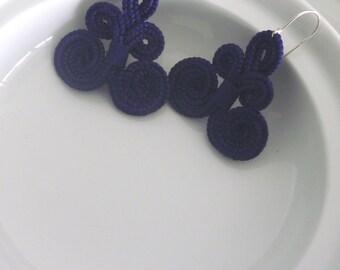 Moroccan arabesque earrings, handmade, cobalt