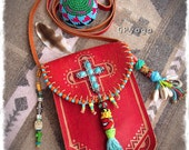 TURQUOISE Cross LEATHER bag RED Crossbody Purse Tribal Native Boho Summer Artisan Embellished Bag Beaded Tassel painted leather purse GPyoga