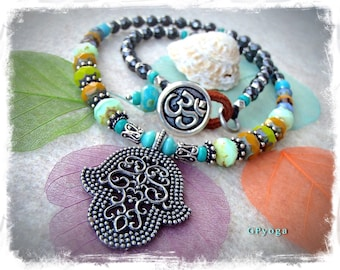 Indie HAMSA NECKLACE Protection Amulet Colorful Boho OM Yoga meaningful jewelry Hematite necklace Womens fashion Fatima Hand necklace GPyoga