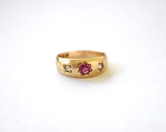 Antique 18k Ruby And Diamond Gypsy Set Ring With English Hallmarks c.1880s