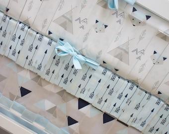 Fox Crib Bedding, Baby Bedding, Triangles Arrows Fox Teepee Tipi Tribal Southwest Baby Blue Navy Gray Nursery Set, Herringbone Crib Skirt