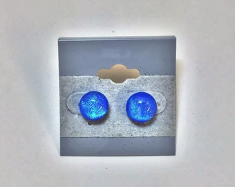 Clear Dichroic on Blue Fused Glass Post Earrings