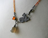 Grey agate drop, orange carnelian and sterling silver botanical necklace - READY TO SHIP
