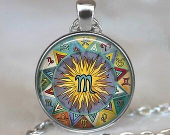 Scorpio Bohemian Zodiac necklace, Boho Scorpio pendant, Scorpio necklace Zodiac jewelry Zodiac pendant astrology jewelry key chain key fob