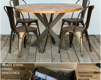 Reclaimed Intersections Table with Amalfi Steel Chairs and Clear Coat Finish. Finish/stain sample kit to try B4 you buy