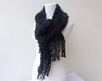 Black knit scarf Chunky black scarf Multi yarn Unique hand knitted scarves
