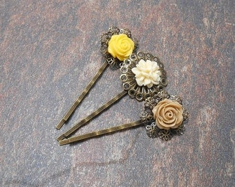 Set of 3 Floral Bobby Pins - Yellow & Tan Hair Pins - Clearance - Spring Hair Pins - Floral Hair Accessories