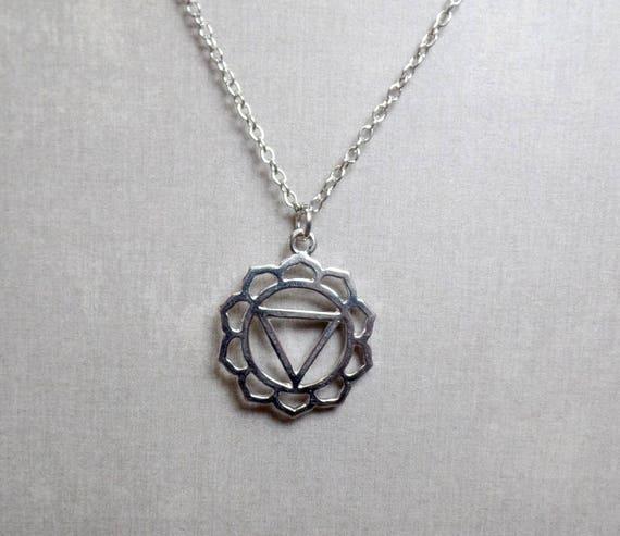 Silver Plated Solar Plexus Chakra Necklace - Chakra Charm Necklace - Solar Plexus Chakra Pendant