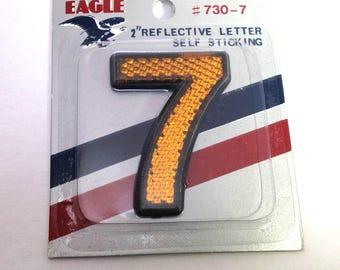 "Number 7 VINTAGE 2"" Reflective Number Seven Altered Art Assemblage Mixed Media Supplies Reflective Self Stick Eagle #7 (Y306)"
