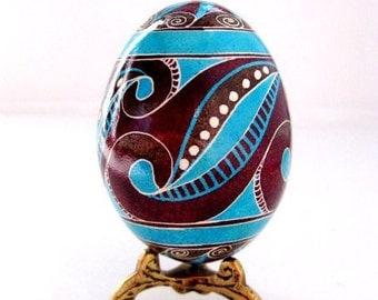 Gift for Dad Easter egg handpainted on real chicken egg shell modern style design Pysanka with swirls trypillian Easter egg