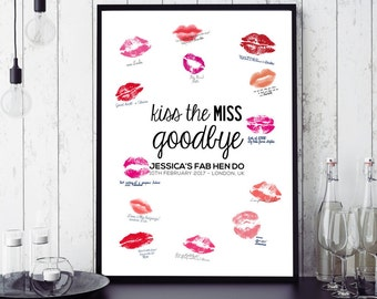Personalized Custom Hen / Bachelorette Party Guest Book: Kiss the Miss Goodbye! DIGITAL FILE DOWNLOAD