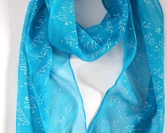 Anne of Green Gable book quote scarf, turquoise silk scarf