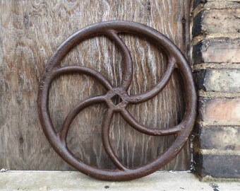 Vintage cast iron Wheel valve pulley handle Industrial Salvage machine age Repurpose table base Supplies 16 inch
