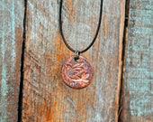 Ceramic Pendant Necklace Rustic Jewelry Brown Bird Design Necklace
