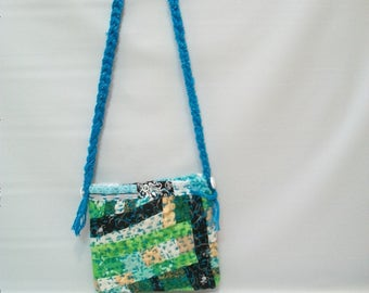 Handmade Quilted pouch/ handbag, Small purse, Small Shoulder Bag, Quilted Patchwork Bag, Embellished Purse, Greens and Blues Quilted Bag