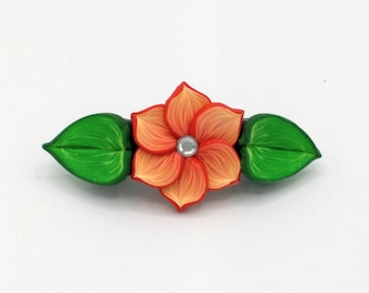 Orange Flower Barrette 3.25 Inches; Spring Blossom; Floral Hair Accessory Fashion; Style No: ORF03