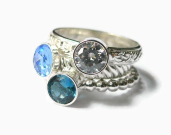 Mothers ring, Sterling silver rings, Gemstone stacking rings, simulated blue topaz