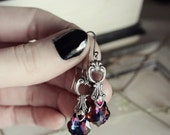 Aged Silver & Swarovski Earrings - Indigo - Purple - Fuchsia - Rainbow - Silver - Victorian - Fantasy - Holidays - Christmas - Black Friday