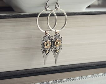 Aged Silver & Raw Brass Earrings - Gold - Flowers - Fantasy - Unique - Bohemian - Boho Chic - Summer - Graduation - June Wedding - Bridal