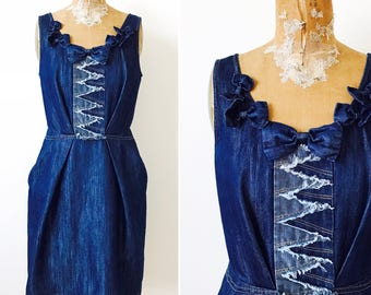 Vintage SONIA RYKIEL denim dress/Ribbon bows/Geometrical design