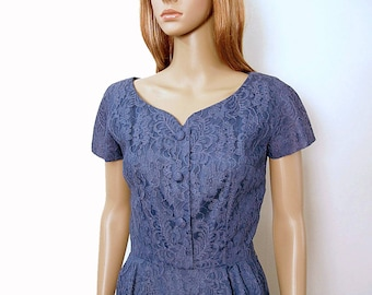 Vintage 1950s Lace Dress Medium Blue Sweetheart Neckline Pencil Dress / Small