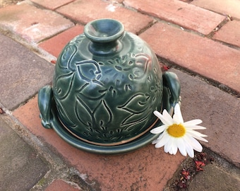 Ready to Ship: Ceramic Butter Dish or Small Cheese Plate with Dahlia Carving in Teal Green