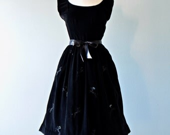 1950s Party Dress...TINA LESER Vintage Black Velvet Party Dress with Embroidered Poodles