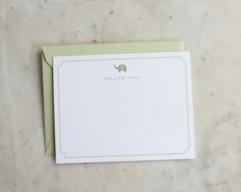 personalized baby boy, girl, gender neutral / little boy or girl notecards / thank you cards - sage green and grey elephant