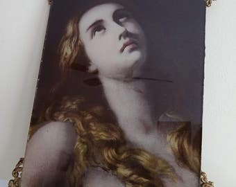 Antique VICTORIAN PORTRAIT Print on Glass - Possibly ULLMAN - Raphaelite Style Print