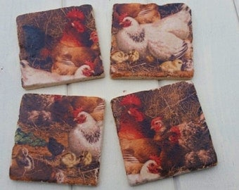 Country Chicken Stone Coaster Set of 4 Tea Coffee Beer Coasters