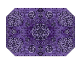 Bohemian placemat, purple placemat, boho, printed lace pattern, cloth placemat, washable polyester fabric placemat, table linens