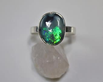 Opal Ring, Australian Opal, black Opal, sterling silver ring, rough opal, raw opal,