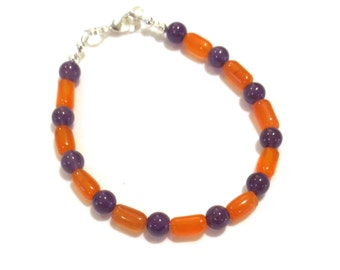 Orange & Purple Bracelet - Team Jewelry - Carnelian and Amethyst Beaded Bracelet - Small Bracelet - Clemson Colors