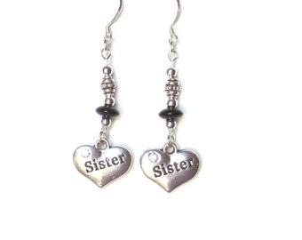 Sister Earrings, Silver Heart Earrings, Silver and Black Earrings, Silver Heart Charms, Puffy Hearts, Rhinestones, Jet Black Glass Beads