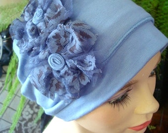 womens hat chemo hat pale blue soft hat two piece  bamboo hat