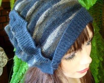 Womens hat soft woollen slouchy tam beret winter lightweight chemo hat