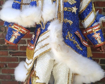 Authentic Mummers Parade Costume.  Adult Sequin and Feather Costume. Red White and Blue Costume