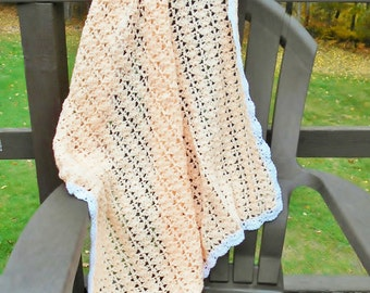 Crochet Baby Blanket Afghan Throw PEACH and White Handmade Knitted Gift For Baby Boy or Girl