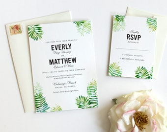 Forest Ferns Watercolor Wedding Invitation