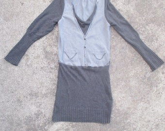 Upcycled Dress Recycled Sweater Upcycled Clothing Reconstructed Sweater Handmade Upcycled Clothes Knit Eco Friendly Grey Vest Chain Dress S